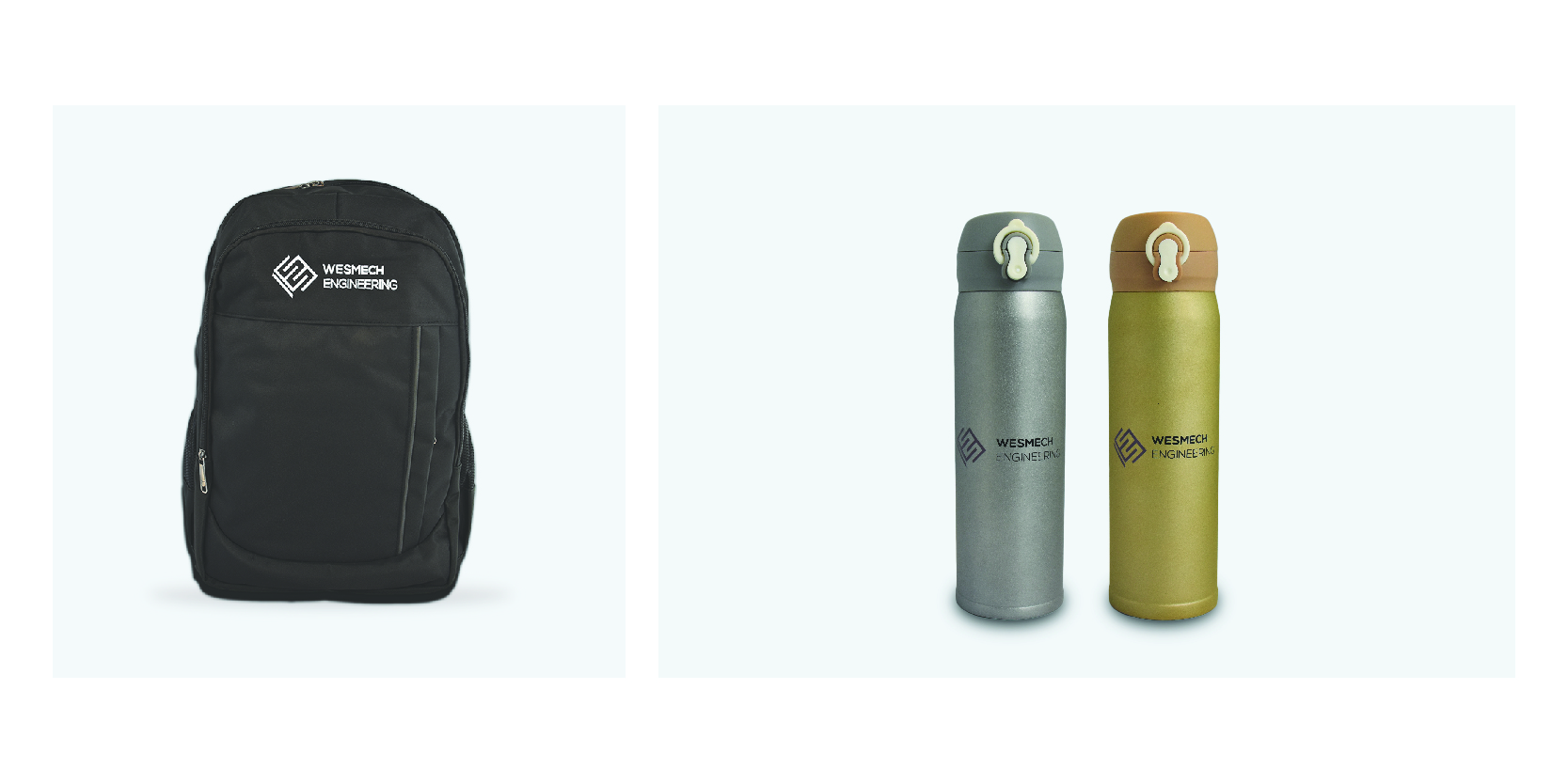 wesmech brand collaterals which show a bag and water bottles bearing the new brand logo