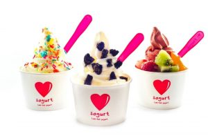 "Single-serve cup displaying sogurt's iconic ""heart-shaped"" logo"